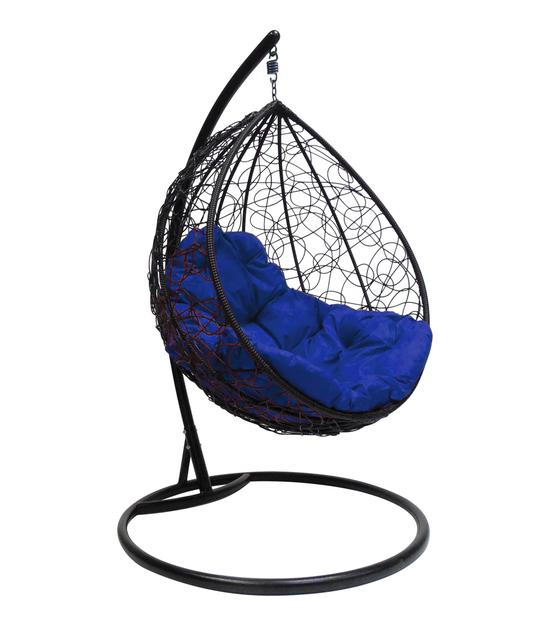 """Фото №2 Подвесное кресло """"Капля Ротанг"""", с синей подушкой Черное"""