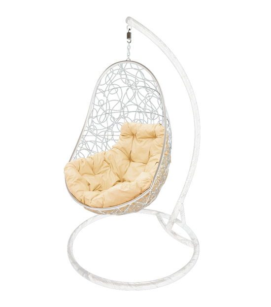 """Фото №2 Кресло подвесное """"Овал"""" с ротангом, с бежевой подушкой Белое"""