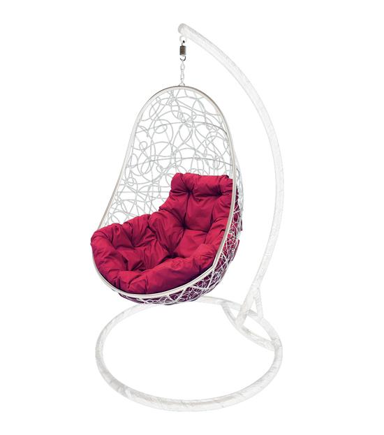 """Фото №2 Кресло подвесное """"Овал"""" с ротангом, с бордовой подушкой Белое"""