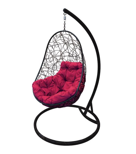 """Фото №2 Кресло подвесное """"Овал"""" с ротангом, с бордовой подушкой Черное"""