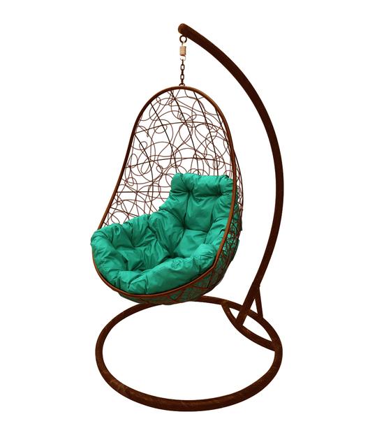 """Фото №2 Кресло подвесное """"Овал"""" с ротангом, с зелёной подушкой Коричневое"""