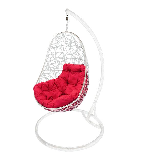 """Фото №2 Кресло подвесное """"Овал"""" с ротангом, с малиновой подушкой Белое"""