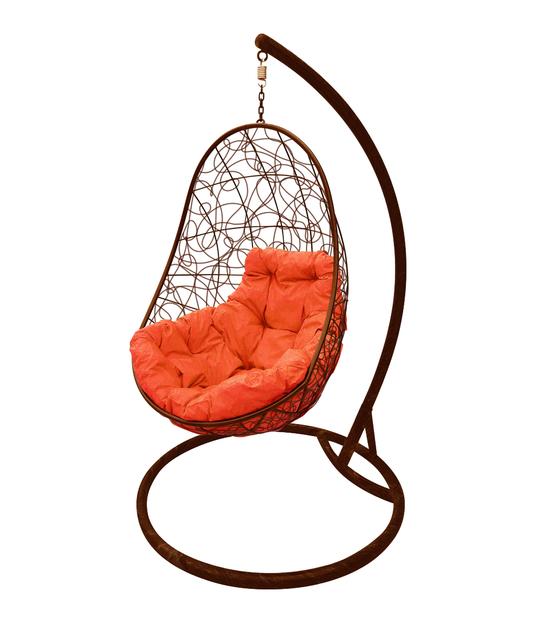 """Фото №2 Кресло подвесное """"Овал"""" с ротангом, с оранжевой подушкой Коричневое"""