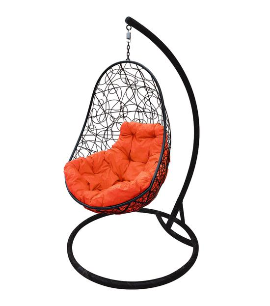 """Фото №2 Кресло подвесное """"Овал"""" с ротангом, с оранжевой подушкой Черное"""