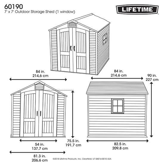 Фото №11 Пластиковый сарай LifeTime 7'х7' (2,1 м х 2,1 м)
