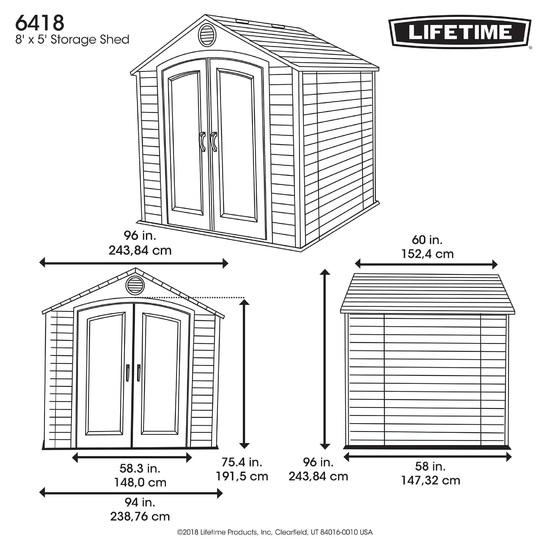 Фото №15 Пластиковый сарай LifeTime  8'х5' (2,5м х 1,5м)