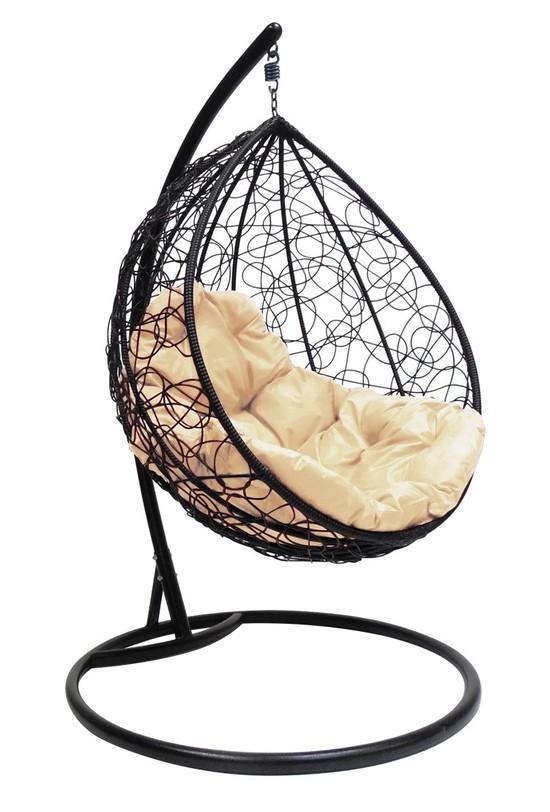 Фото №3 Подвесное кресло-кокон КАПЛЯ РОТАНГ черное + каркас