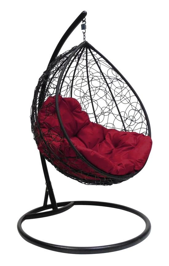 Фото №4 Подвесное кресло-кокон КАПЛЯ РОТАНГ черное + каркас
