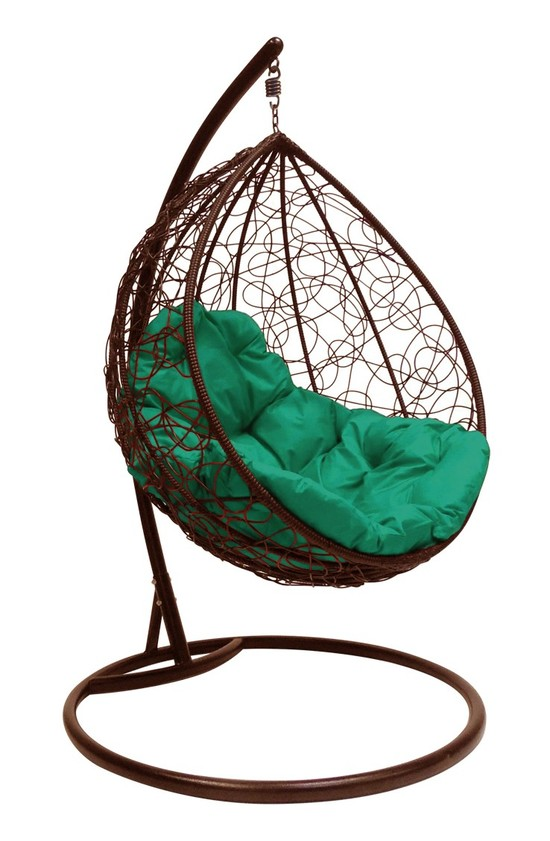 Фото №2 Подвесное кресло-кокон  КАПЛЯ РОТАНГ коричневое + каркас