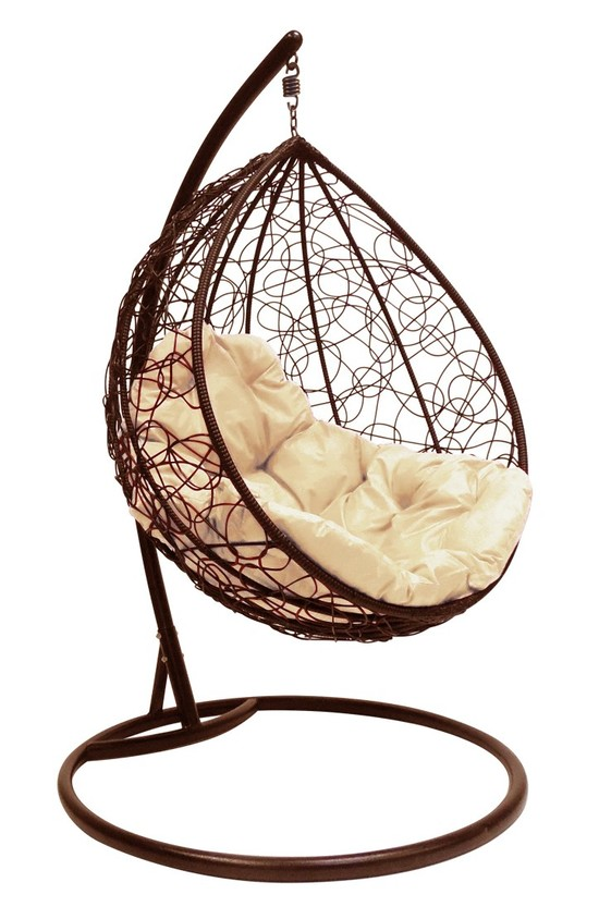 Фото №3 Подвесное кресло-кокон  КАПЛЯ РОТАНГ коричневое + каркас