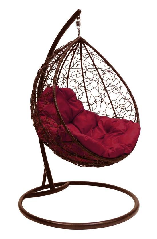 Фото №4 Подвесное кресло-кокон  КАПЛЯ РОТАНГ коричневое + каркас