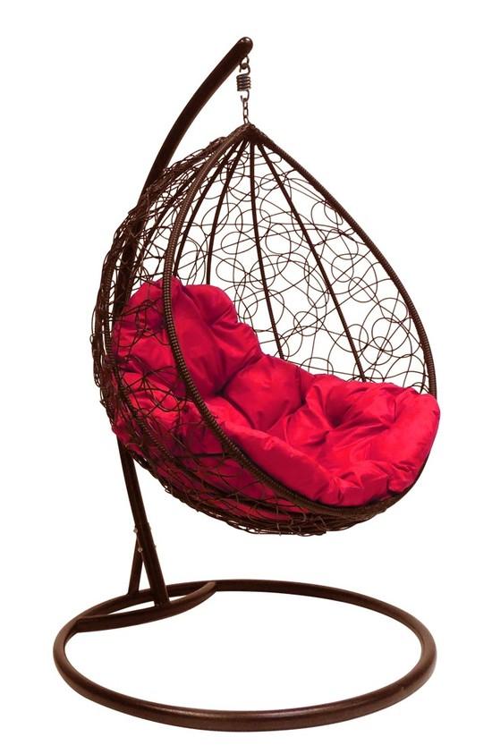 Фото №5 Подвесное кресло-кокон  КАПЛЯ РОТАНГ коричневое + каркас
