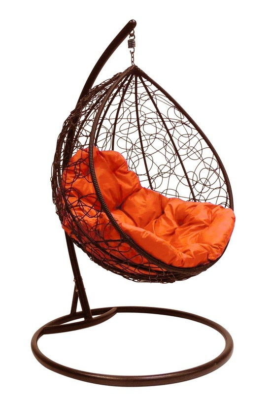 Фото №6 Подвесное кресло-кокон  КАПЛЯ РОТАНГ коричневое + каркас