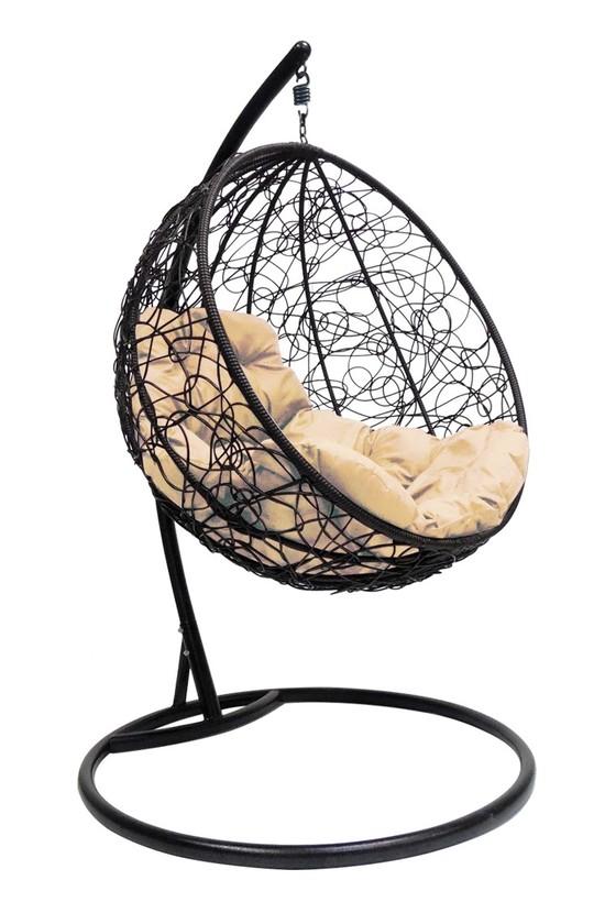 Фото №5 Подвесное кресло-кокон КРУГЛЫЙ РОТАНГ черное + каркас
