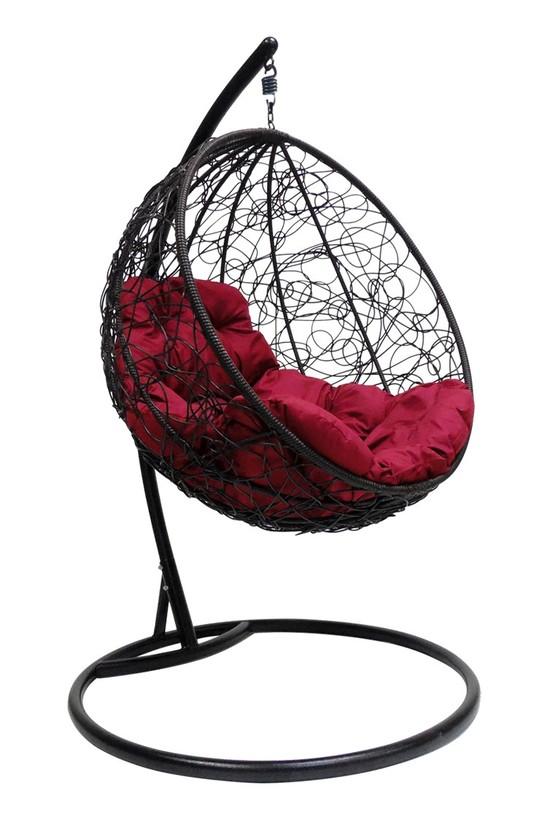 Фото №4 Подвесное кресло-кокон КРУГЛЫЙ РОТАНГ черное + каркас
