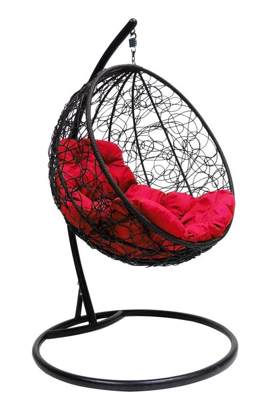 Фото №2 Подвесное кресло-кокон КРУГЛЫЙ РОТАНГ черное + каркас