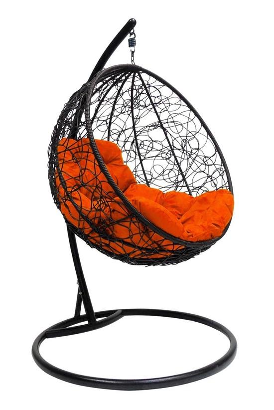 Фото №3 Подвесное кресло-кокон КРУГЛЫЙ РОТАНГ черное + каркас