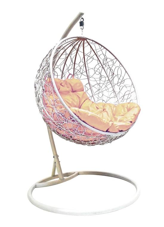 Фото №2 Подвесное кресло-кокон КРУГЛЫЙ РОТАНГ белое + каркас