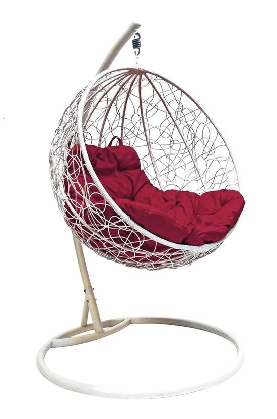 Фото №3 Подвесное кресло-кокон КРУГЛЫЙ РОТАНГ белое + каркас