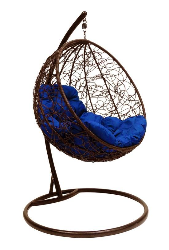 Фото №3 Подвесное кресло-кокон КРУГЛЫЙ РОТАНГ коричневое + каркас