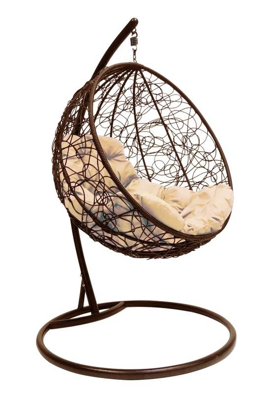 Фото №4 Подвесное кресло-кокон КРУГЛЫЙ РОТАНГ коричневое + каркас