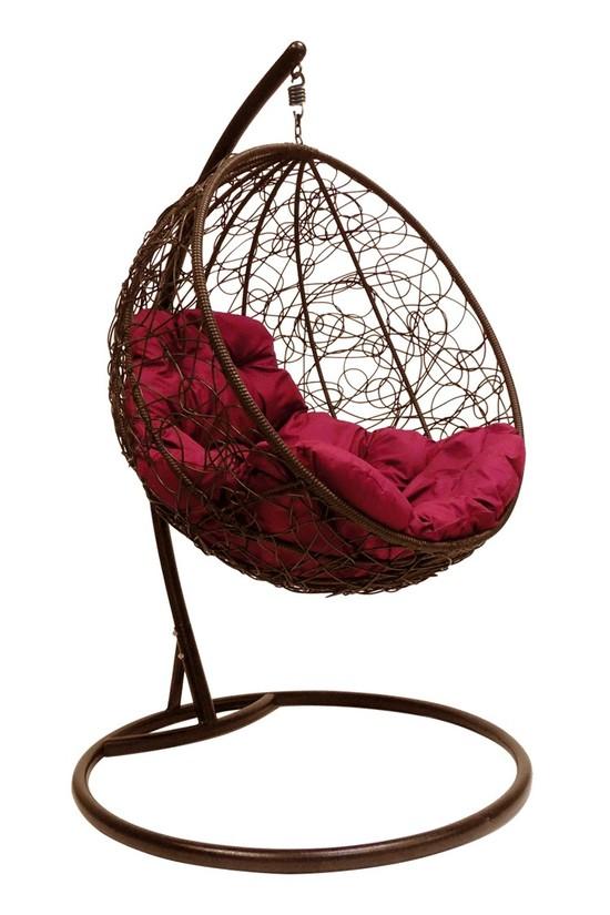 Фото №2 Подвесное кресло-кокон КРУГЛЫЙ РОТАНГ коричневое + каркас