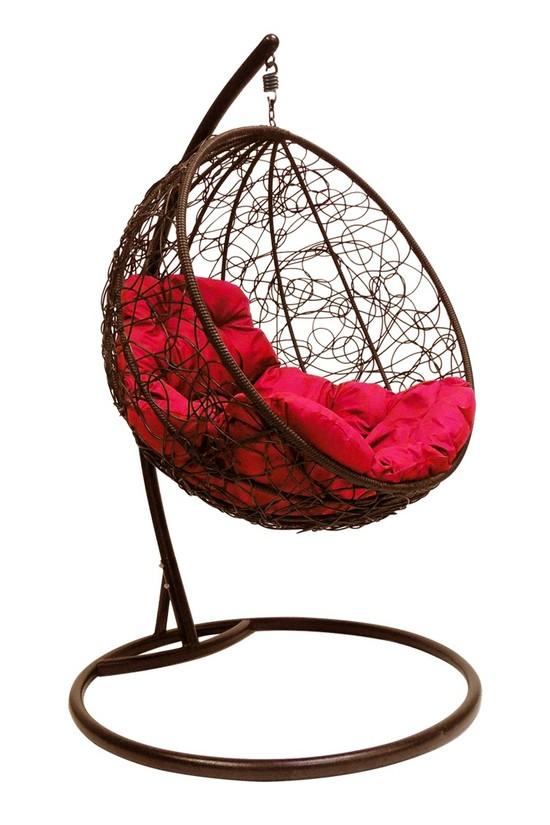 Фото №5 Подвесное кресло-кокон КРУГЛЫЙ РОТАНГ коричневое + каркас