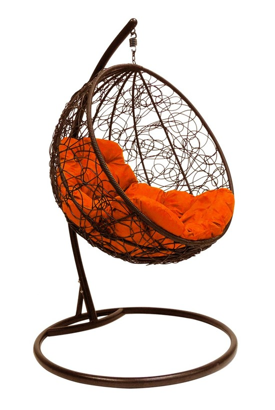Фото №6 Подвесное кресло-кокон КРУГЛЫЙ РОТАНГ коричневое + каркас