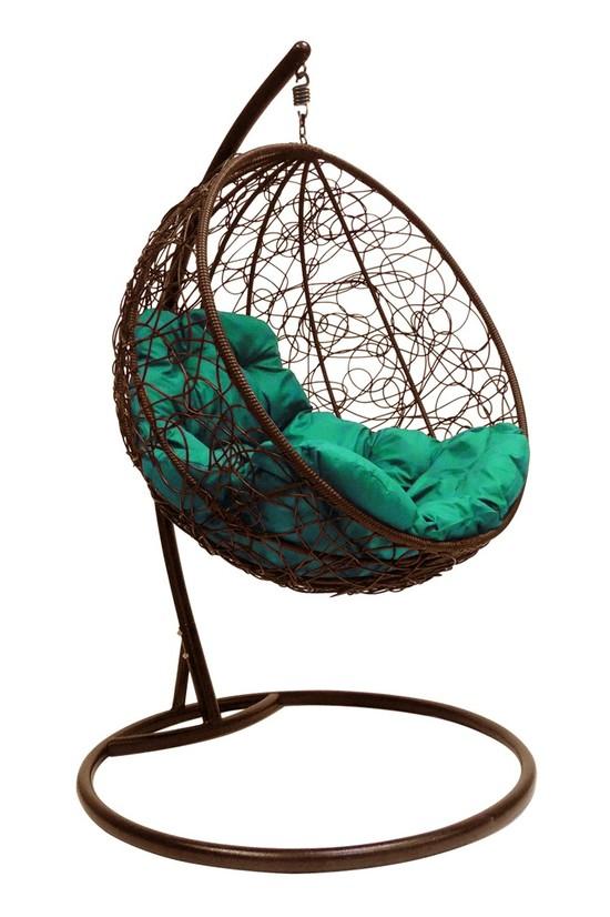 Фото №7 Подвесное кресло-кокон КРУГЛЫЙ РОТАНГ коричневое + каркас