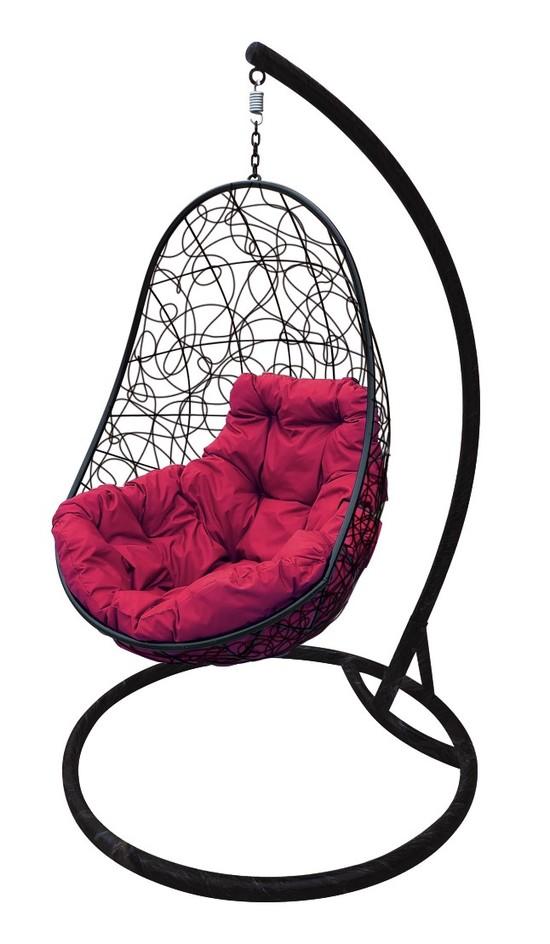Фото №5 Подвесное кресло-кокон ОВАЛ РОТАНГ черное + каркас