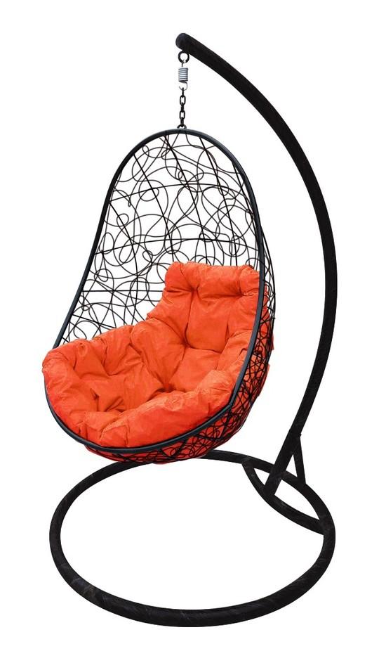 Фото №3 Подвесное кресло-кокон ОВАЛ РОТАНГ черное + каркас