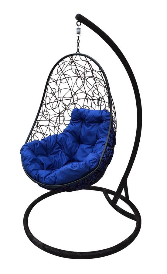 Фото №2 Подвесное кресло-кокон ОВАЛ РОТАНГ черное + каркас