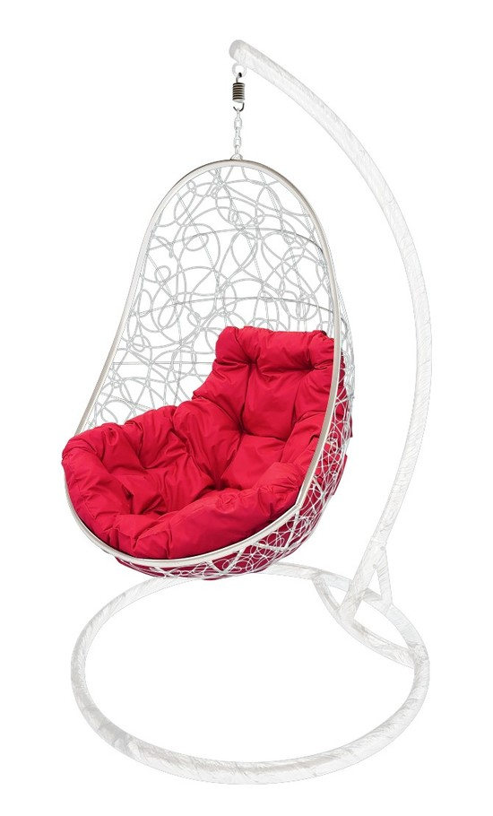 Фото №2 Подвесное кресло-кокон ОВАЛ РОТАНГ белое + каркас