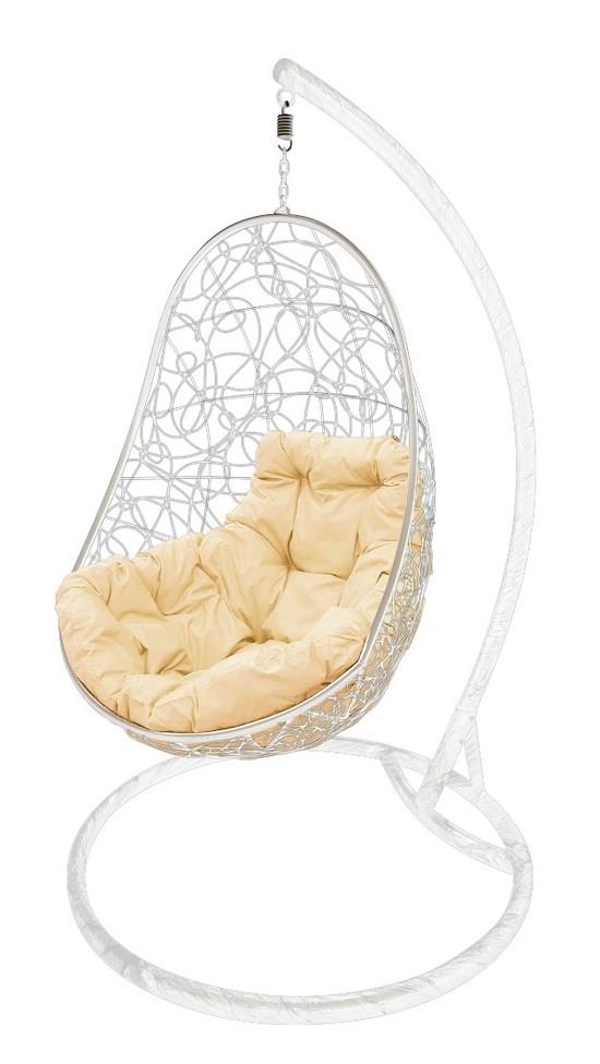 Фото №3 Подвесное кресло-кокон ОВАЛ РОТАНГ белое + каркас