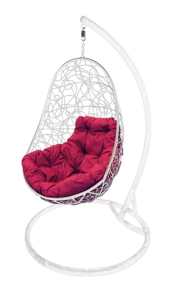 Фото №4 Подвесное кресло-кокон ОВАЛ РОТАНГ белое + каркас