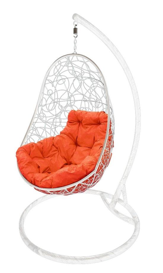 Фото №5 Подвесное кресло-кокон ОВАЛ РОТАНГ белое + каркас
