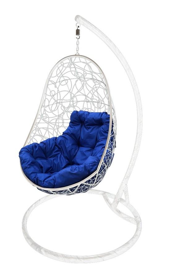 Фото №6 Подвесное кресло-кокон ОВАЛ РОТАНГ белое + каркас