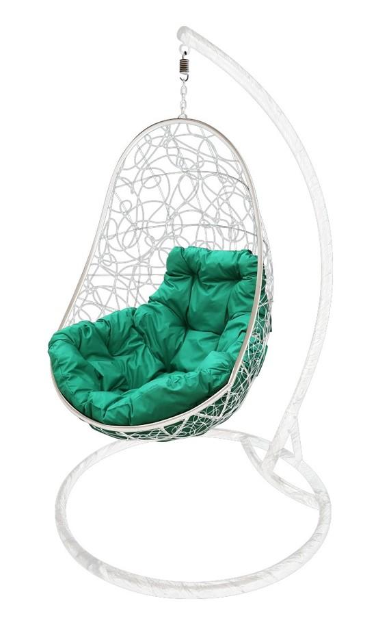Фото №7 Подвесное кресло-кокон ОВАЛ РОТАНГ белое + каркас