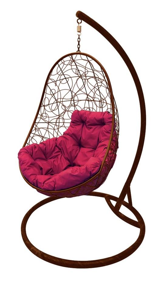Фото №2 Подвесное кресло-кокон ОВАЛ РОТАНГ коричневое + каркас