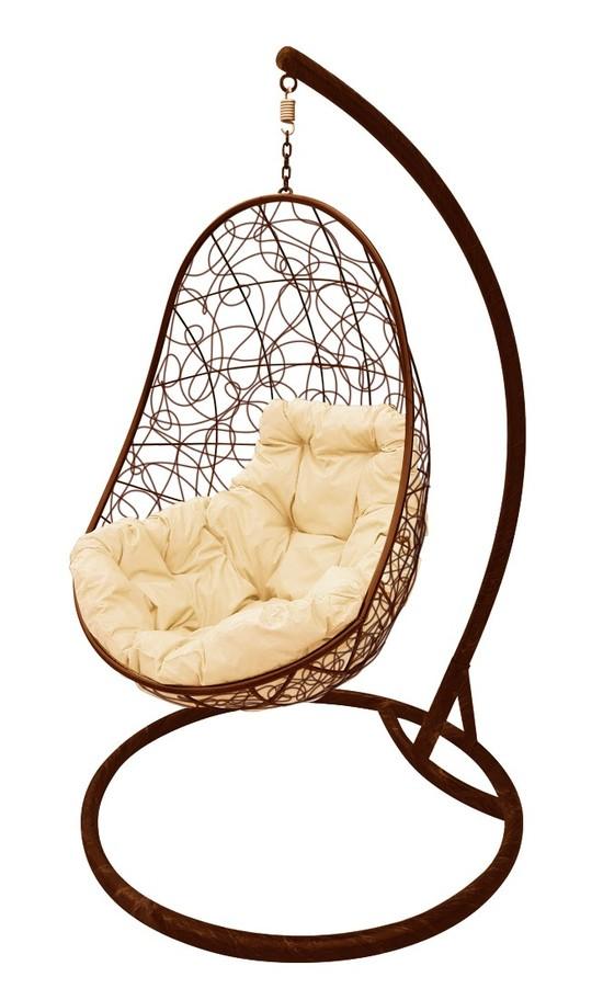 Фото №3 Подвесное кресло-кокон ОВАЛ РОТАНГ коричневое + каркас