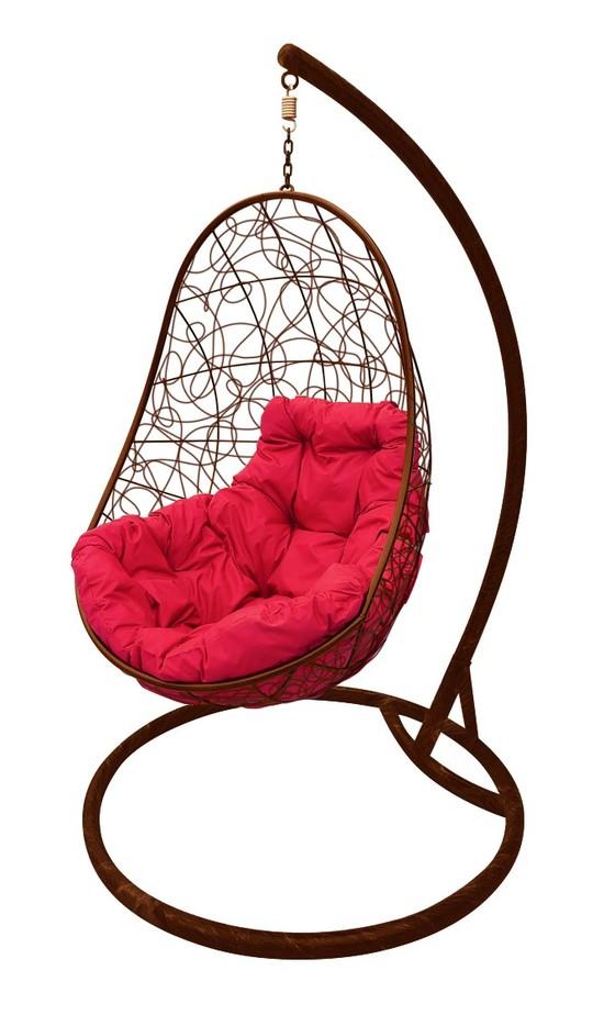 Фото №4 Подвесное кресло-кокон ОВАЛ РОТАНГ коричневое + каркас