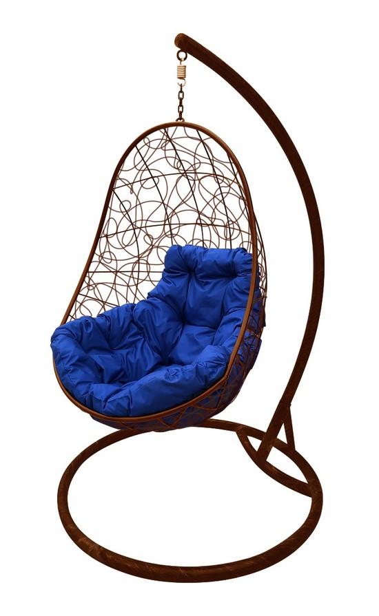 Фото №6 Подвесное кресло-кокон ОВАЛ РОТАНГ коричневое + каркас