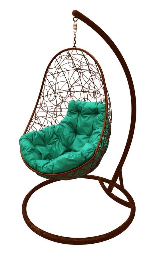Фото №7 Подвесное кресло-кокон ОВАЛ РОТАНГ коричневое + каркас