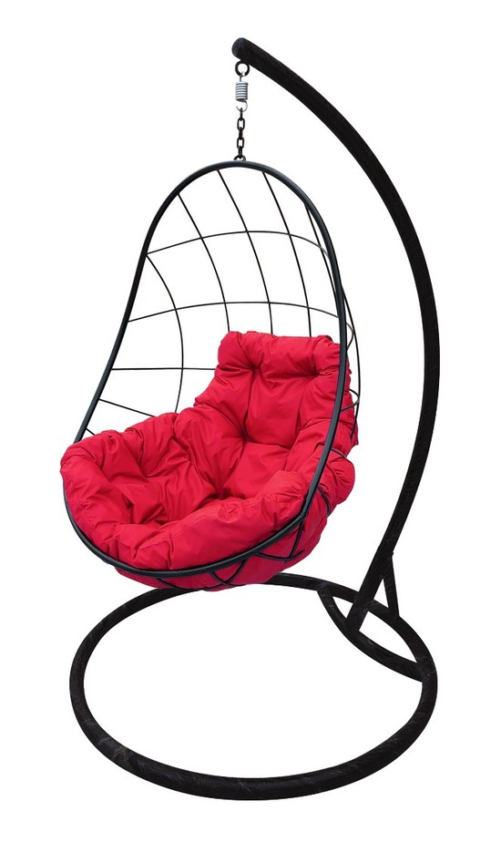 Фото №4 Подвесное кресло-кокон ОВАЛ черное + каркас