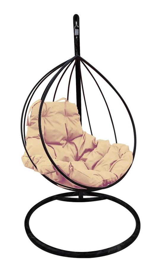 Фото №2 Подвесное кресло-кокон  КАПЛЯ черное + каркас