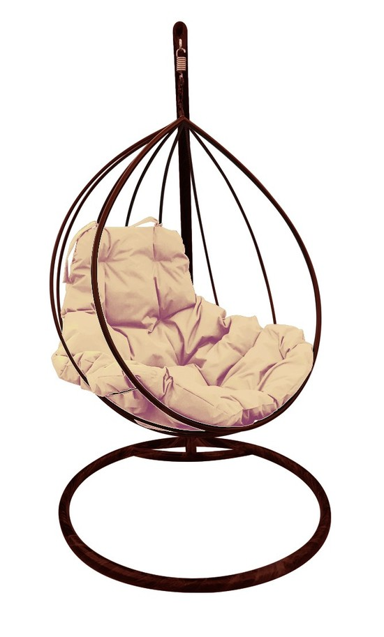 Фото №5 Подвесное кресло-кокон  КАПЛЯ коричневое + каркас