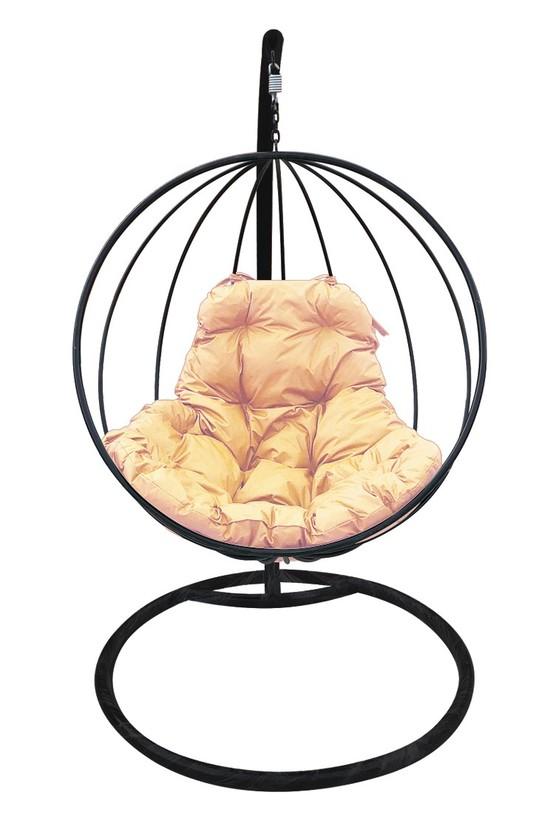 Фото №2 Подвесное кресло-кокон КРУГЛОЕ черное + каркас