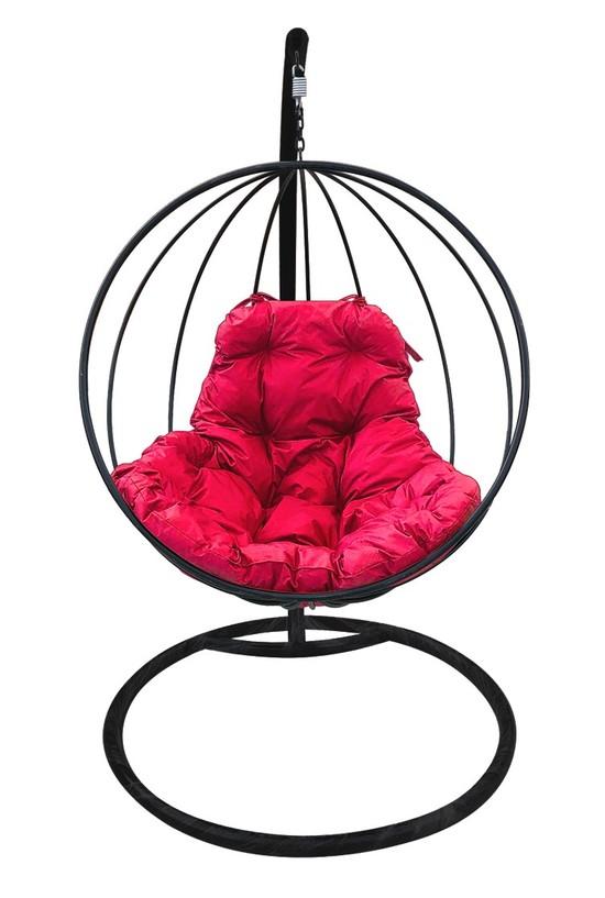 Фото №4 Подвесное кресло-кокон КРУГЛОЕ черное + каркас
