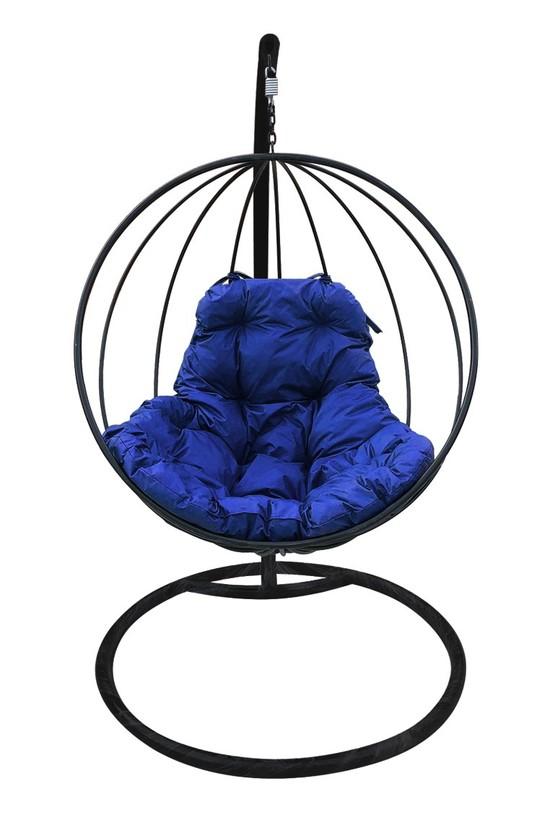 Фото №6 Подвесное кресло-кокон КРУГЛОЕ черное + каркас
