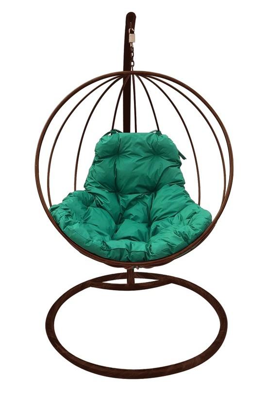 Фото №2 Подвесное кресло-кокон КРУГЛОЕ коричневое + каркас